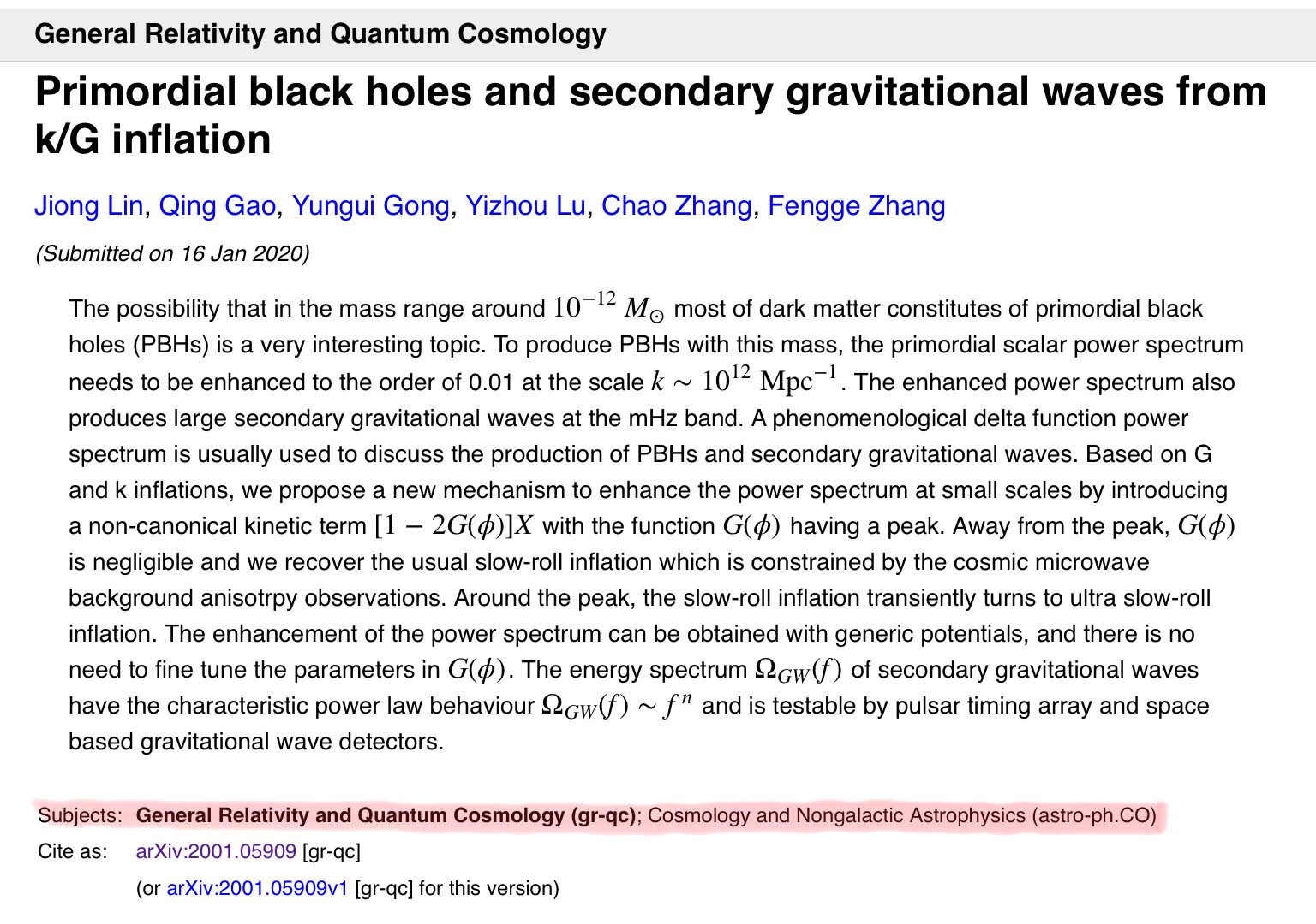 Example of an arXiv entry