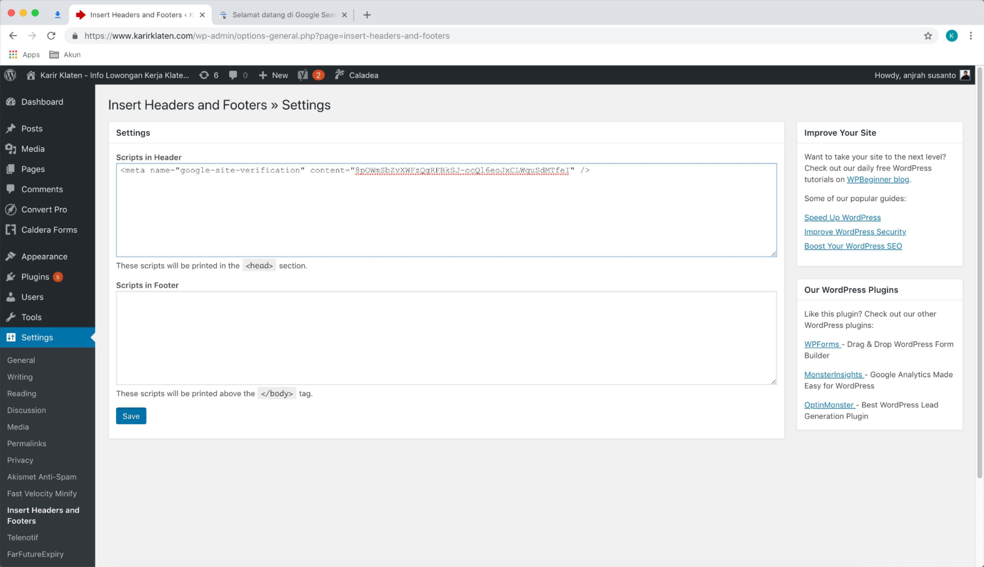 paste kode tag html google