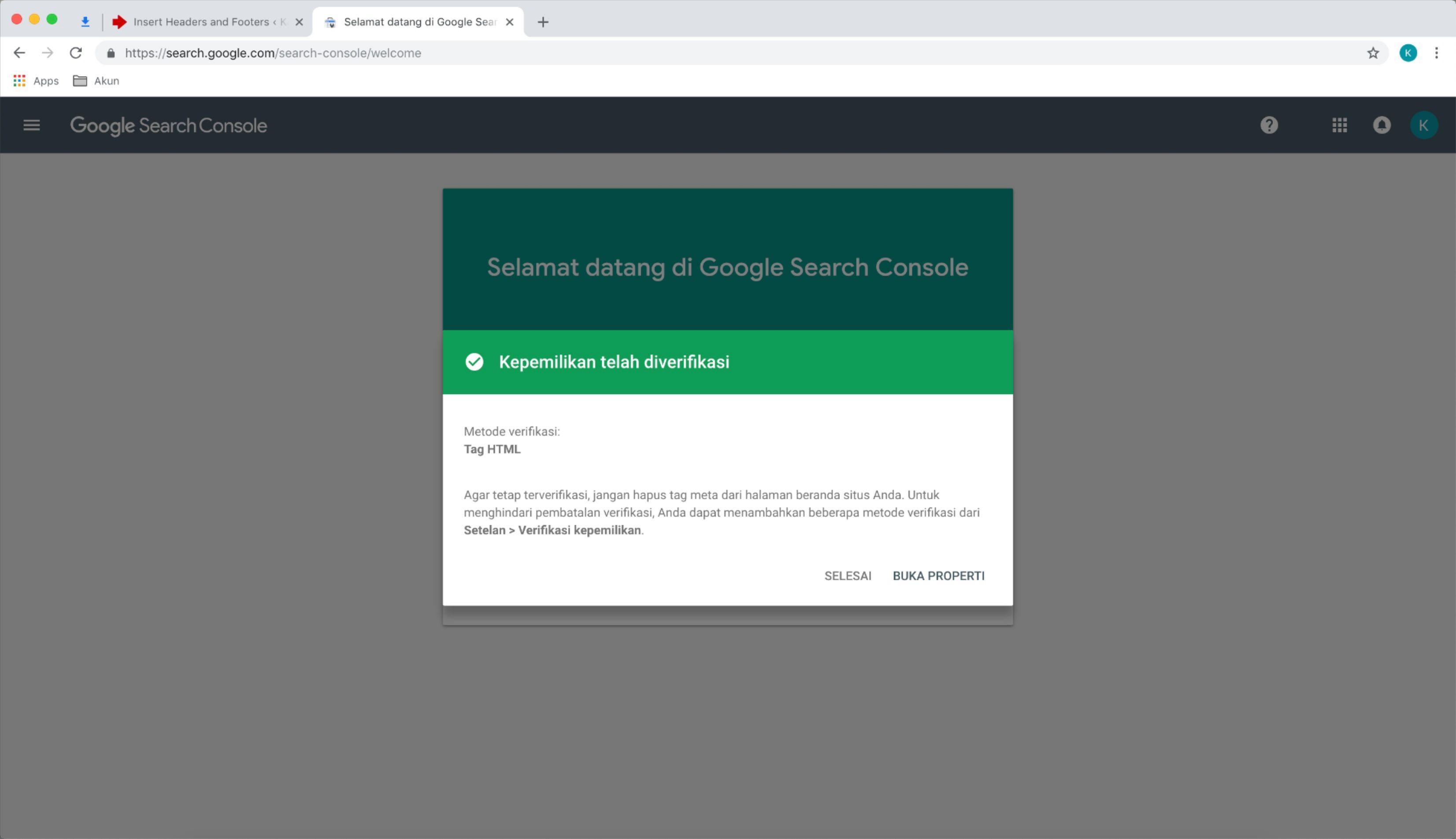 verifikasi google search console berhasil