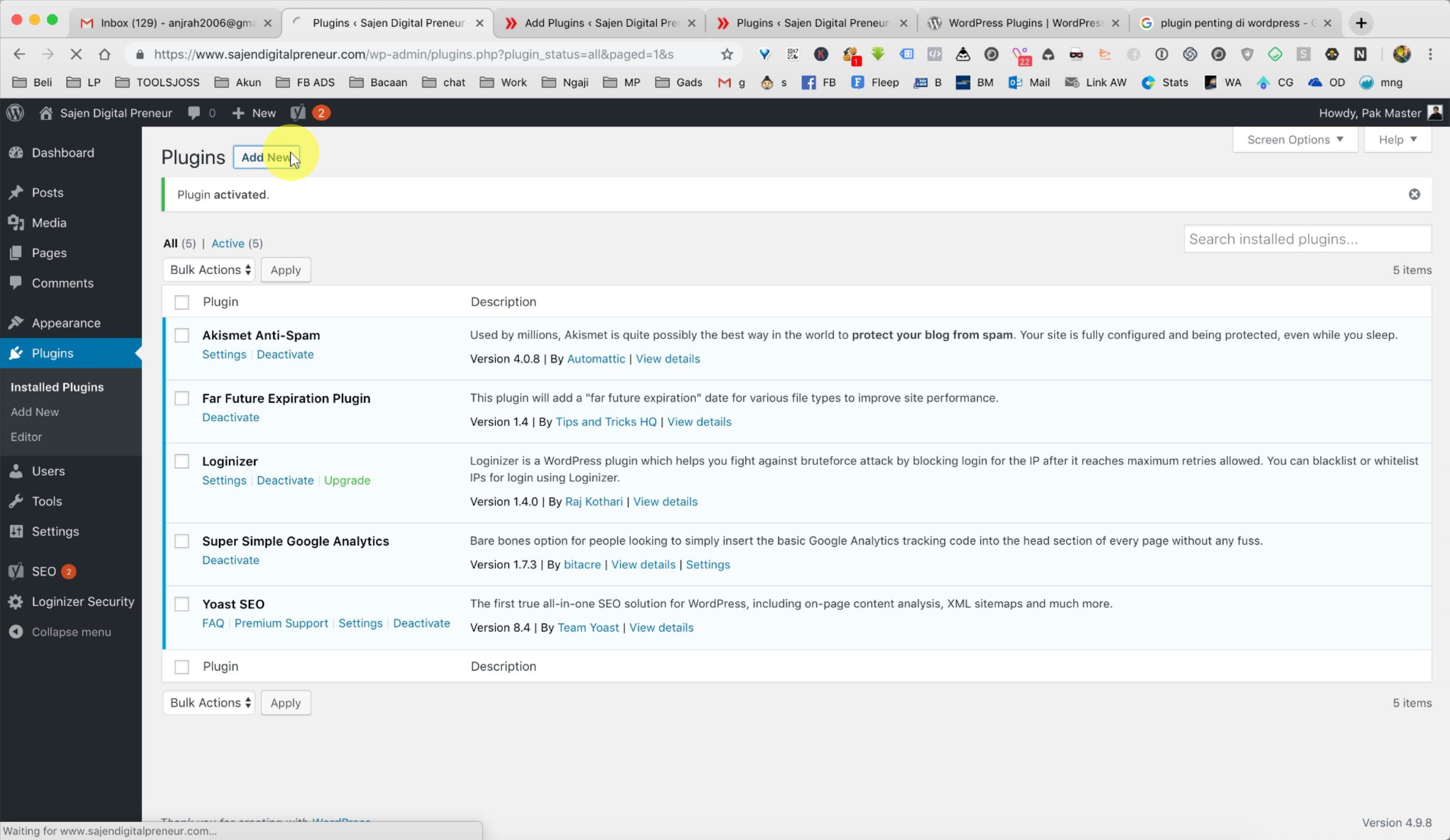 Tutorial Install Plugin WordPress