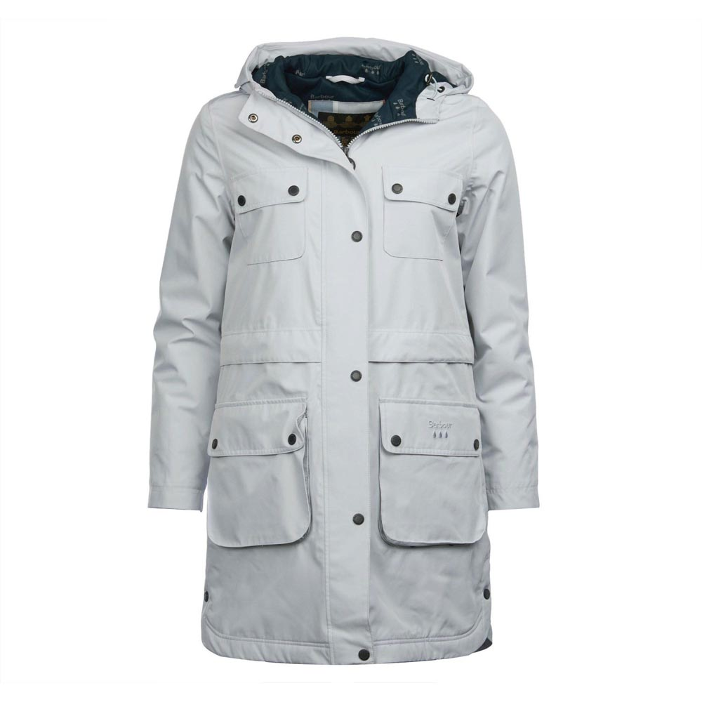 Barbour Isobar Ice White and Navy Waterproof Jacket