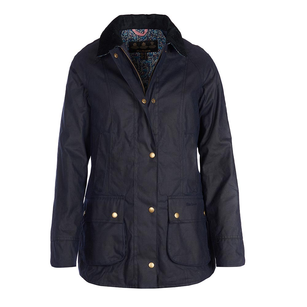 Barbour Abbey Royal Navy and Fuschia Drop Waxed Jacket