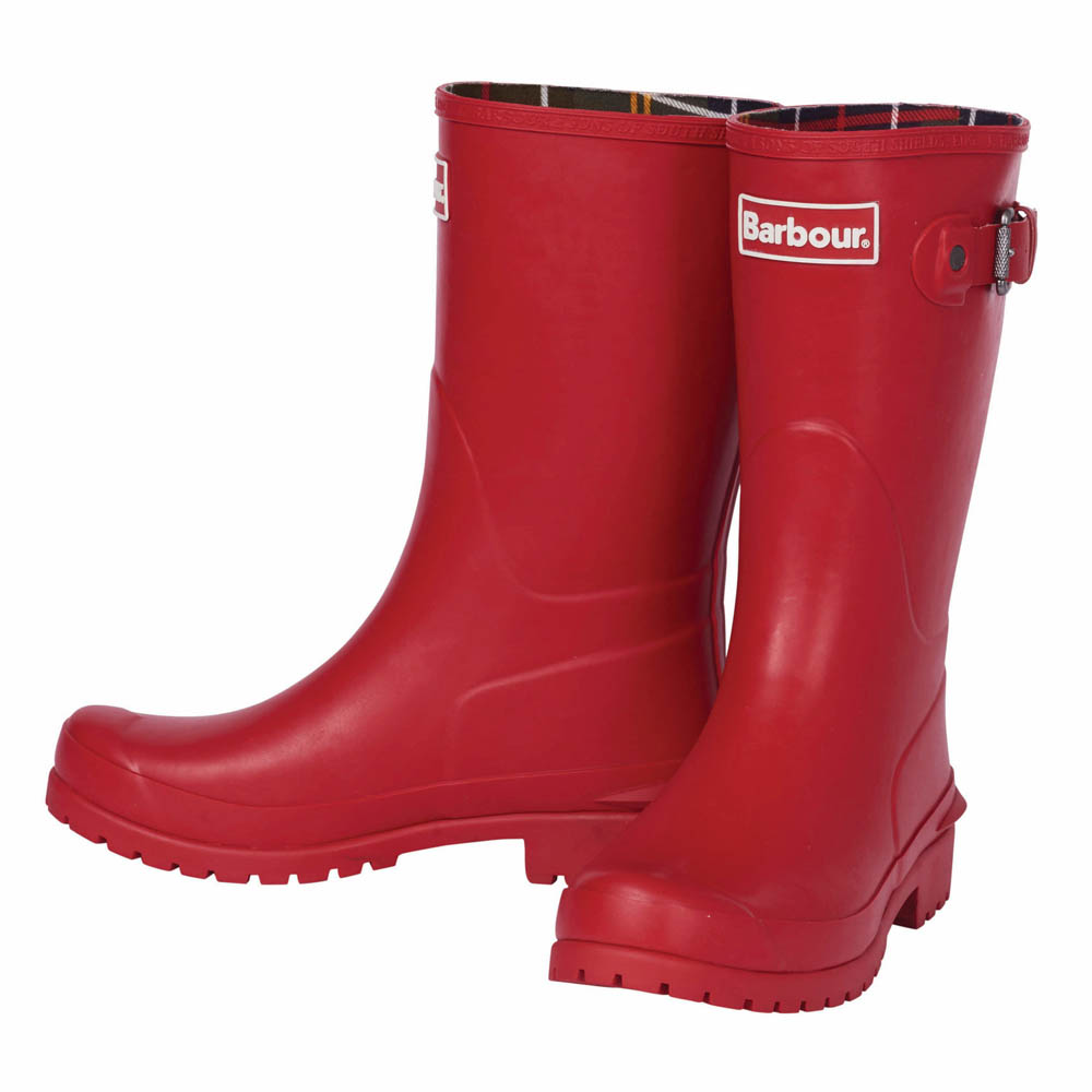 Ladies Barbour Primrose Tartan Red Wellington Boots