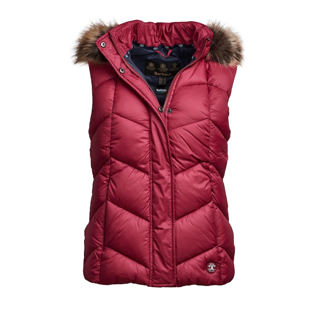 BARBOUR DOWNHALL DEEP PINK/NAVY GILET