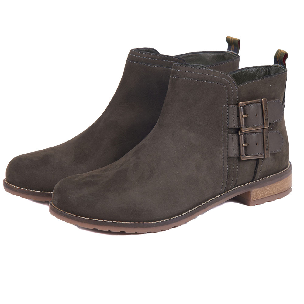 BARBOUR SARAH LOW BUCKLE CHARCOAL BOOTS