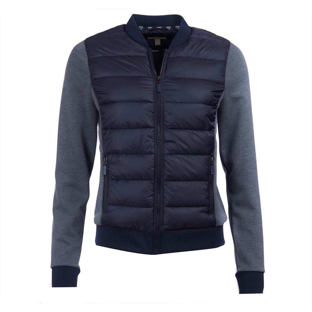 BARBOUR PORT BAFFLE NAVY QUILTED SWEATSHIRT