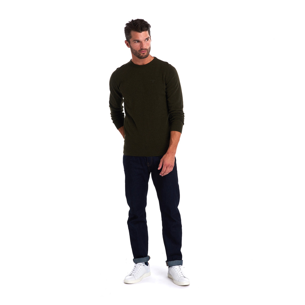 BARBOUR ESSENTIAL LAMBSWOOL SEAWEED CREW NECK SWEATER