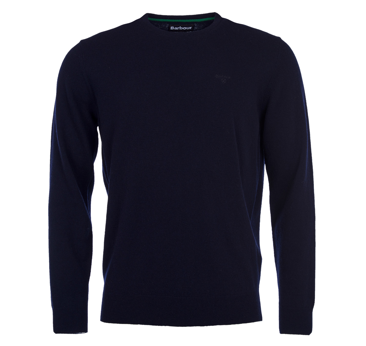 BARBOUR ESSENTIAL LAMBSWOOL NAVY CREW NECK SWEATER