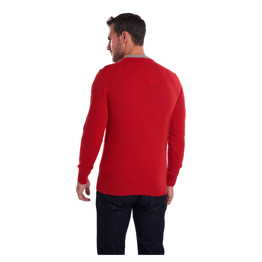 BARBOUR ESSENTIAL LAMBSWOOL CHILLI RED CREW NECK SWEATER