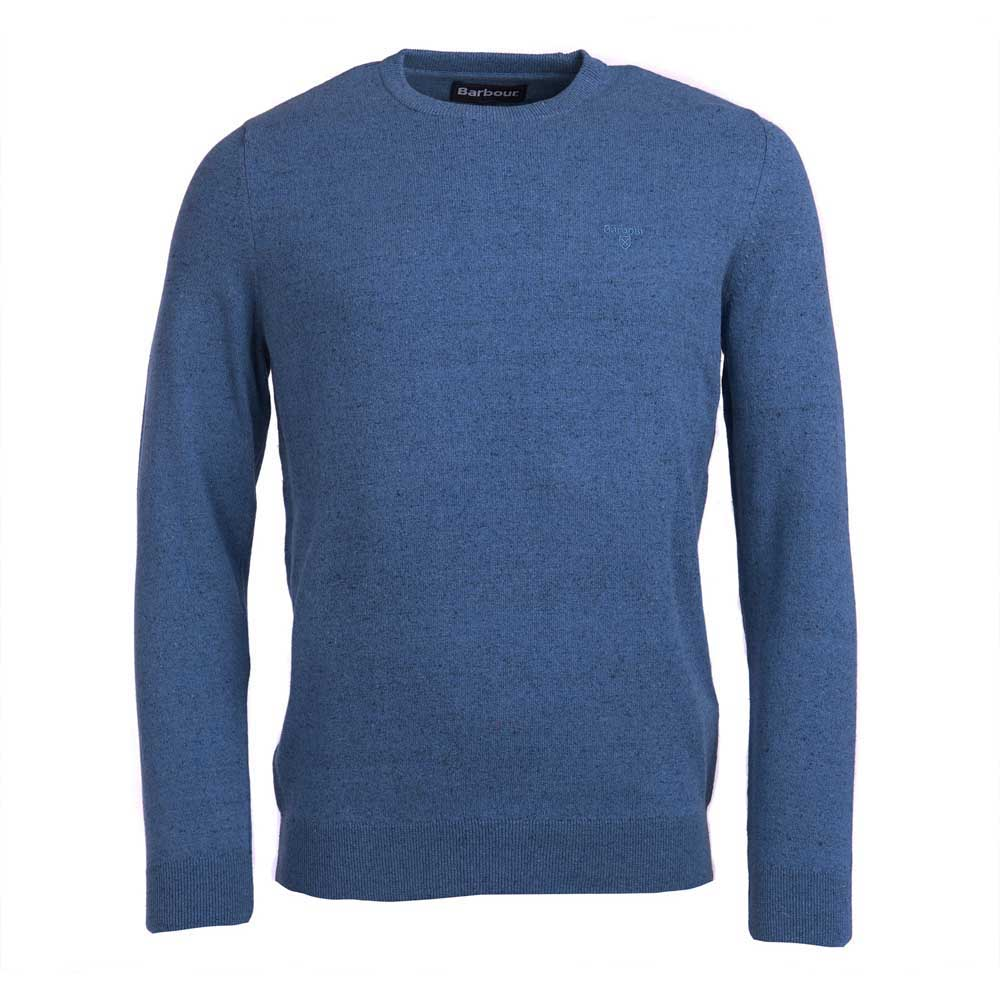 BARBOUR LINEN BLEND BLUE CREW NECK SWEATER