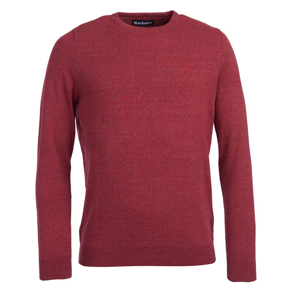 BARBOUR LINEN BLEND RED CREW NECK SWEATER
