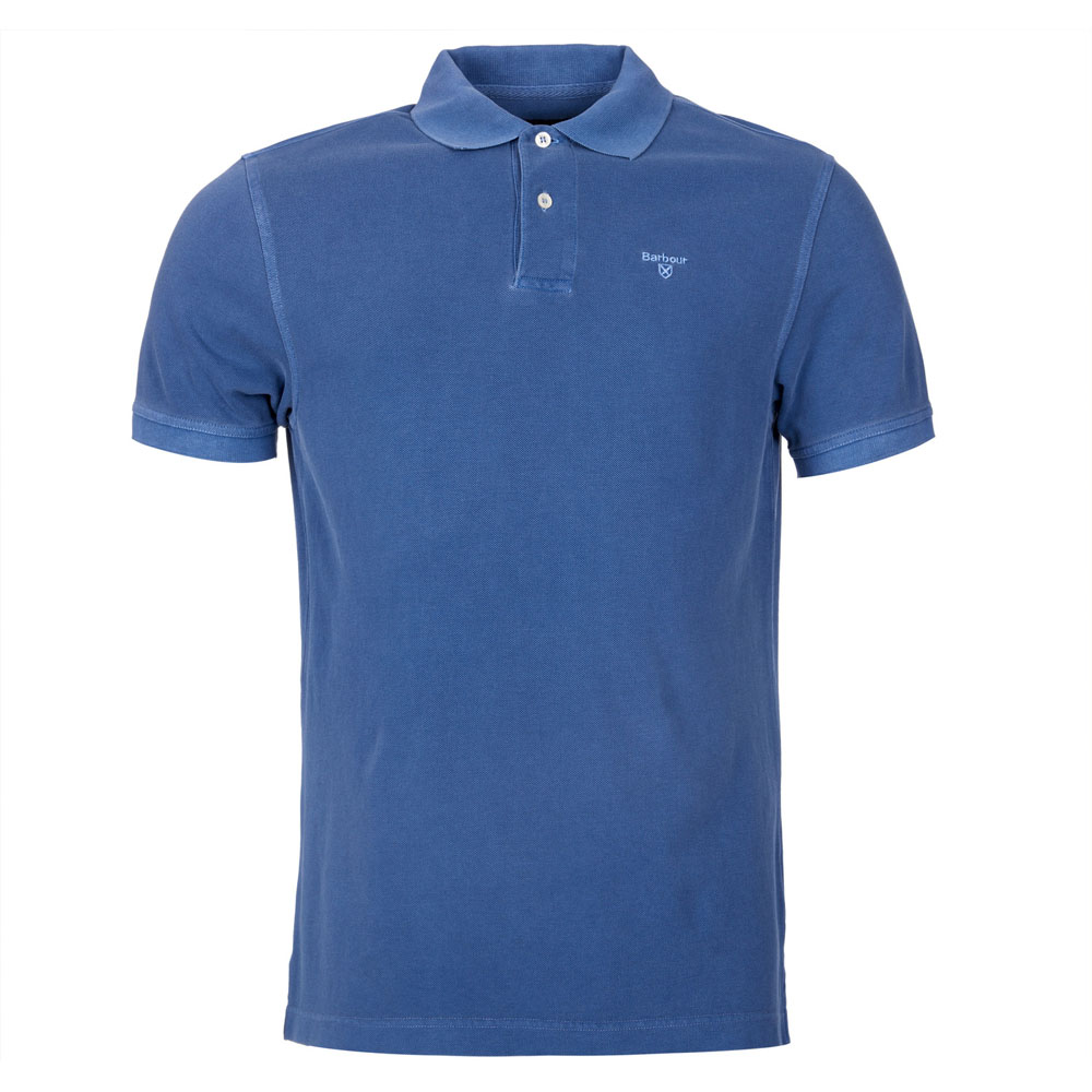 BARBOUR WASHED MARINE BLUE SPORTS POLO SHIRT