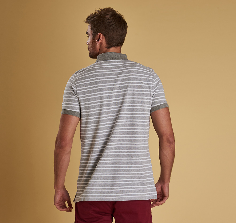 BARBOUR BEDFORD GREY STRIPED POLO SHIRT