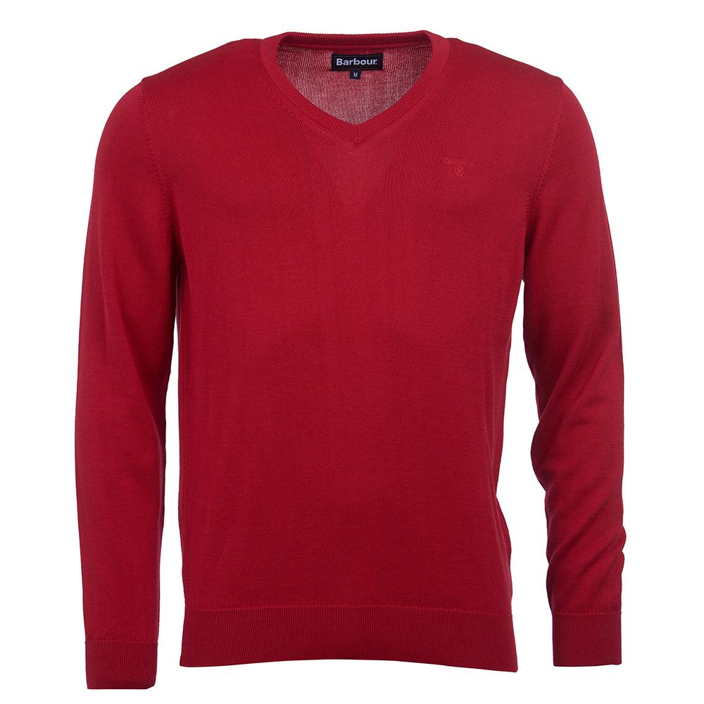 Barbour Pima Cotton V-neck in chilli red