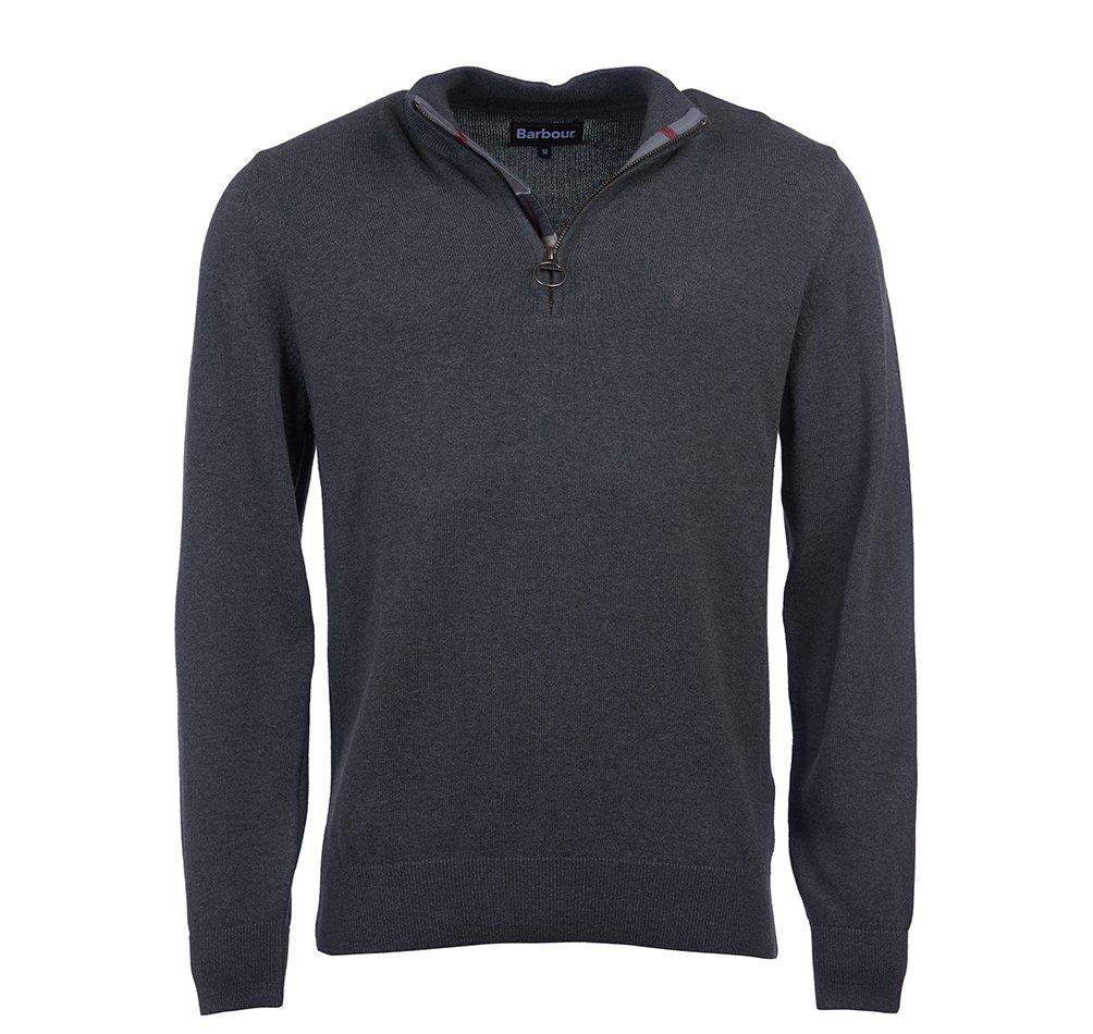 Barbour cotton half zip jumper in charcoal