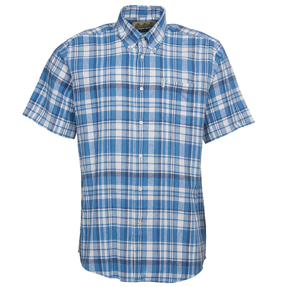 Barbour linen short sleeved blue shirt