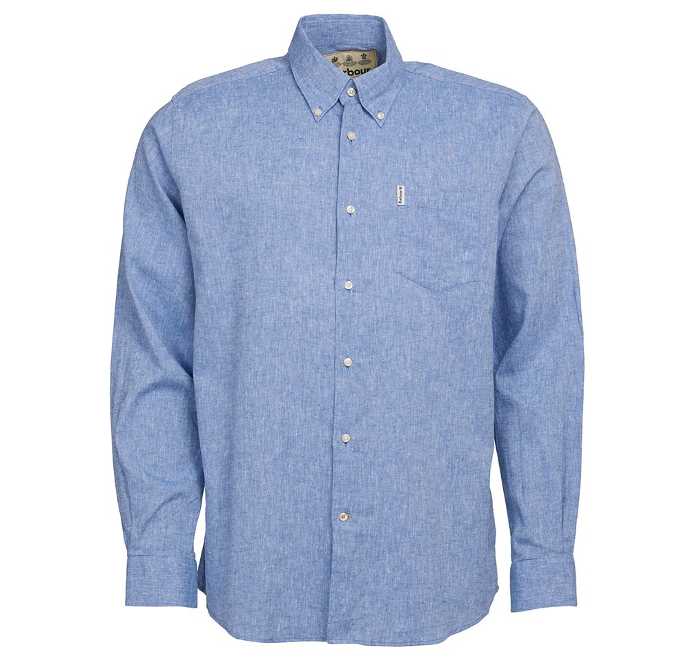 Barbour linen mix blue shirt