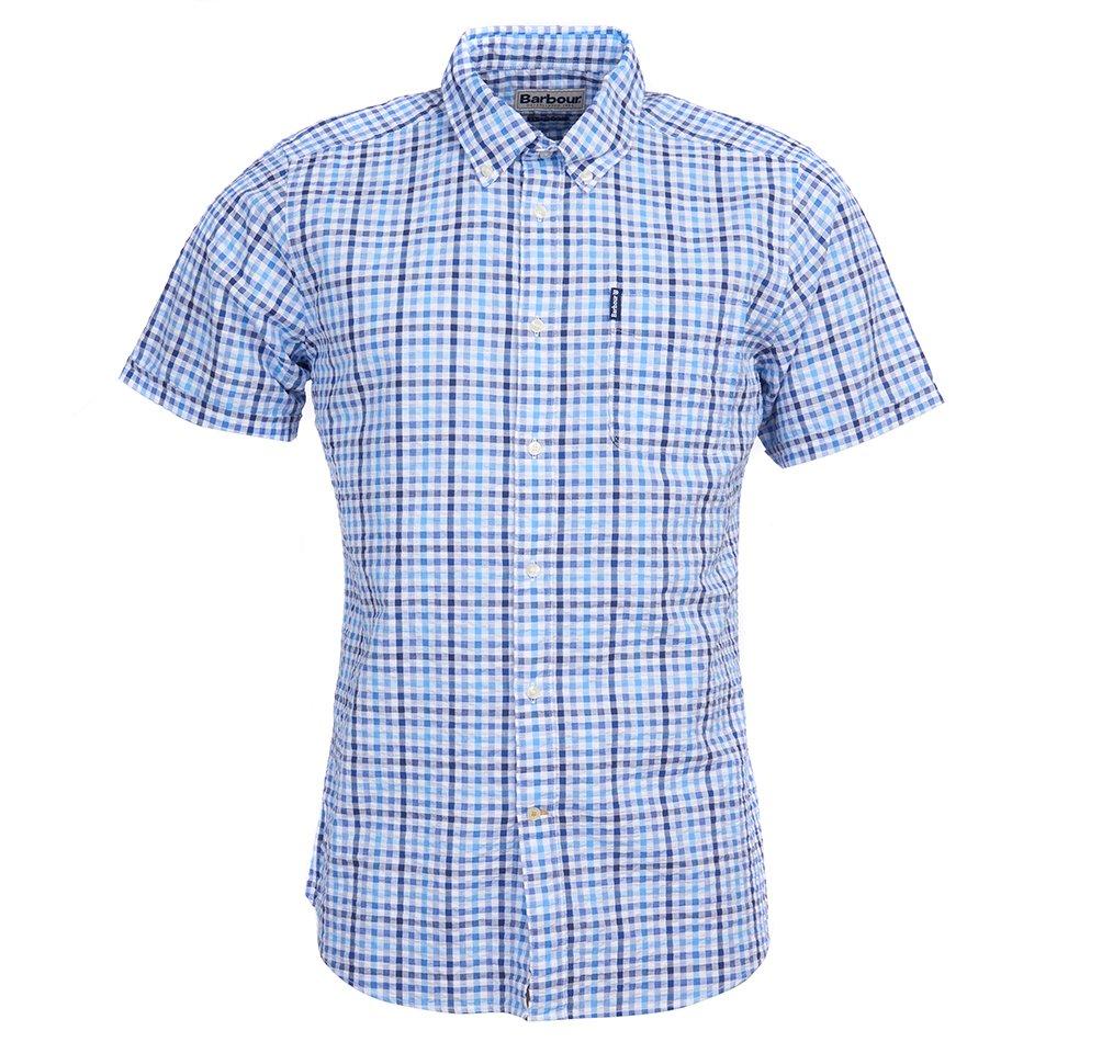 Barbour Seersucker short sleeved shirt in navy