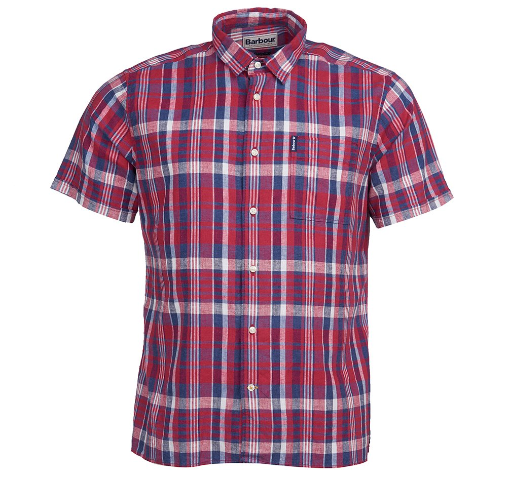 Barbour Linen Mix short sleeved shirt in red