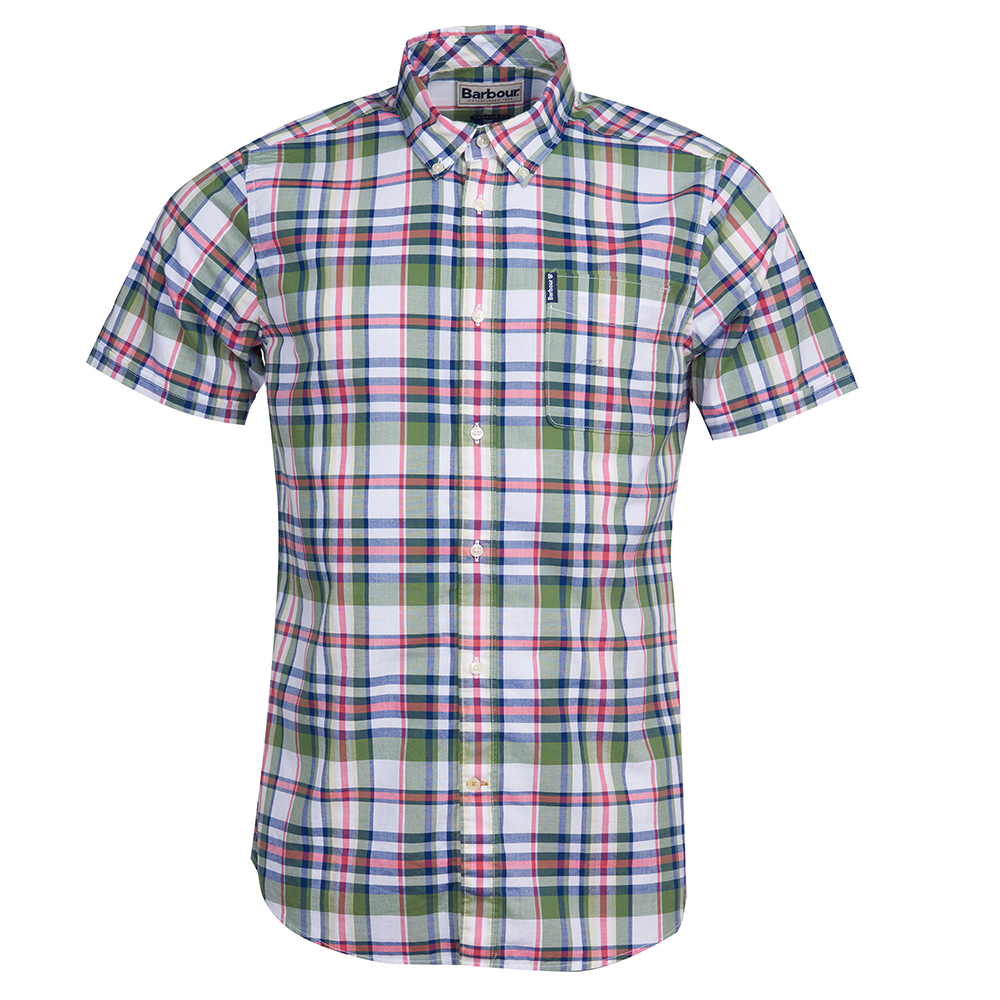 Barbour Madras short sleeved shirt in green