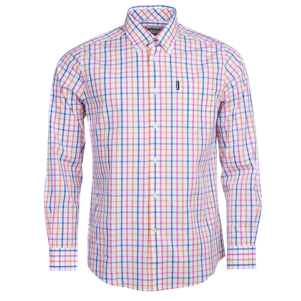 Barbour Tattersall tailored shirt in orange