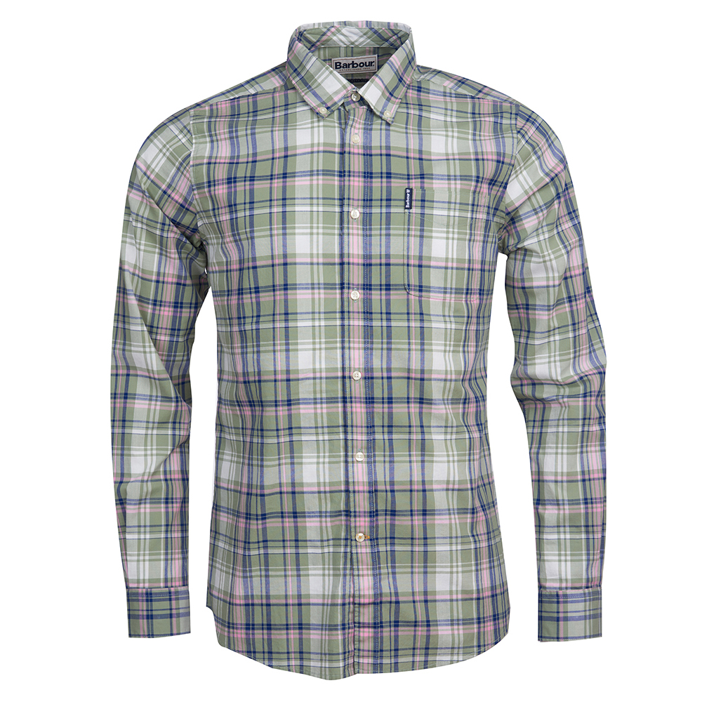 Barbour Madras long sleeve shirt in green