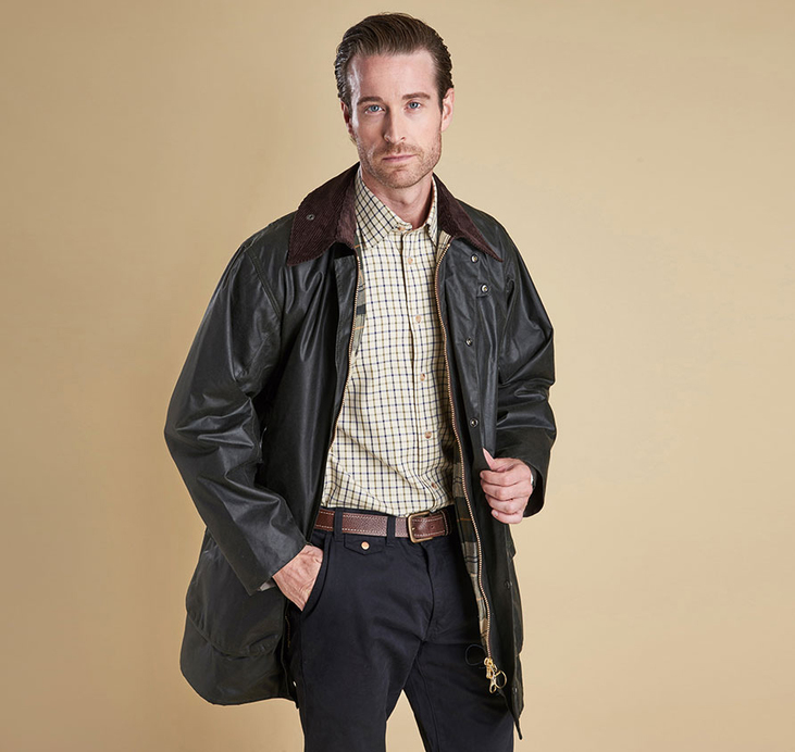 Barbour Border Sage Waxed Jacket