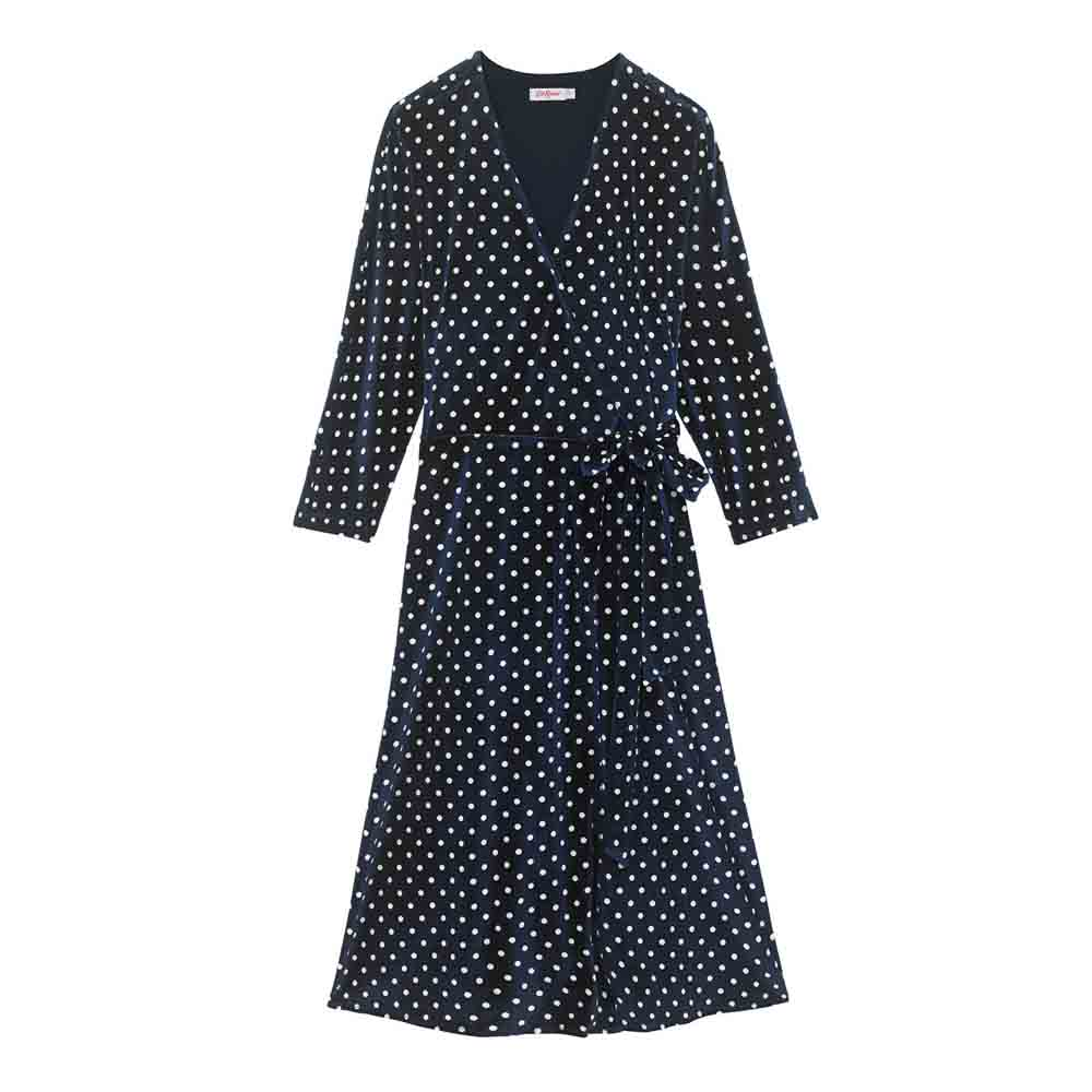 Cath Kidston Spot Velvet Wrap Dress