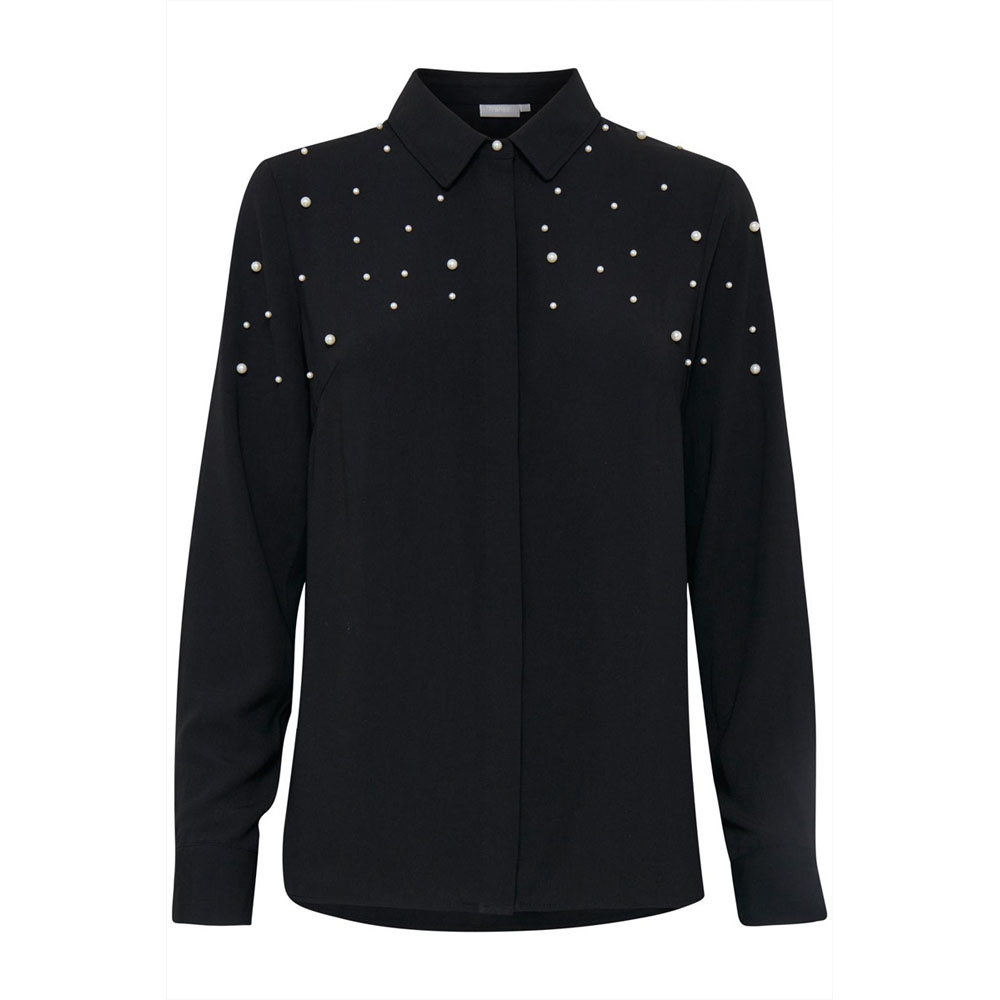 Fransa Rapearl Black Blouse