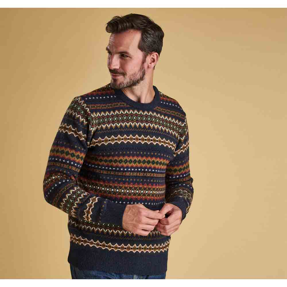 Barbour Case Navy Fairisle Crew Neck Jumper
