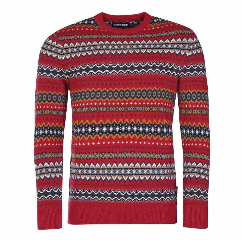 Barbour Case Red Fairisle Crew Neck Jumper
