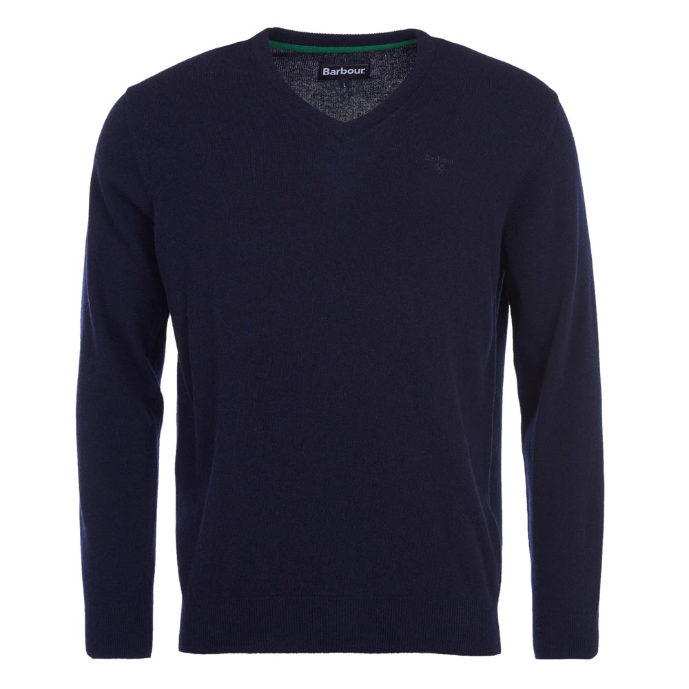 Barbour Essential Lambswool Navy V Neck Jumper