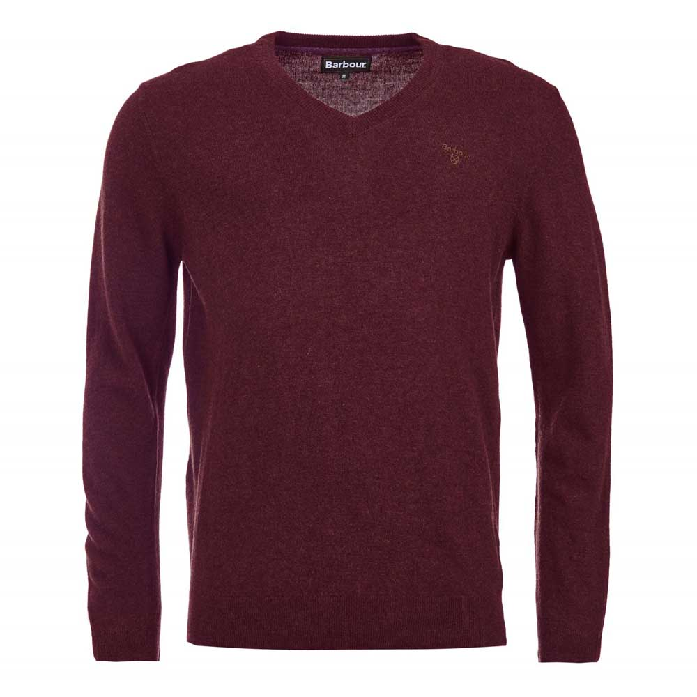 Barbour Essential Lambswool Merlot V Neck Jumper