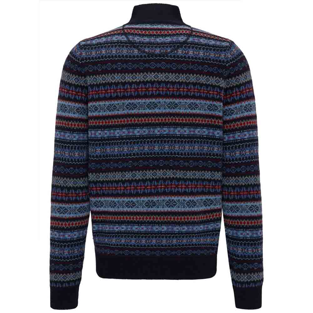 FYNCH HATTON Navy KNIT WITH JACQUARD PATTERN
