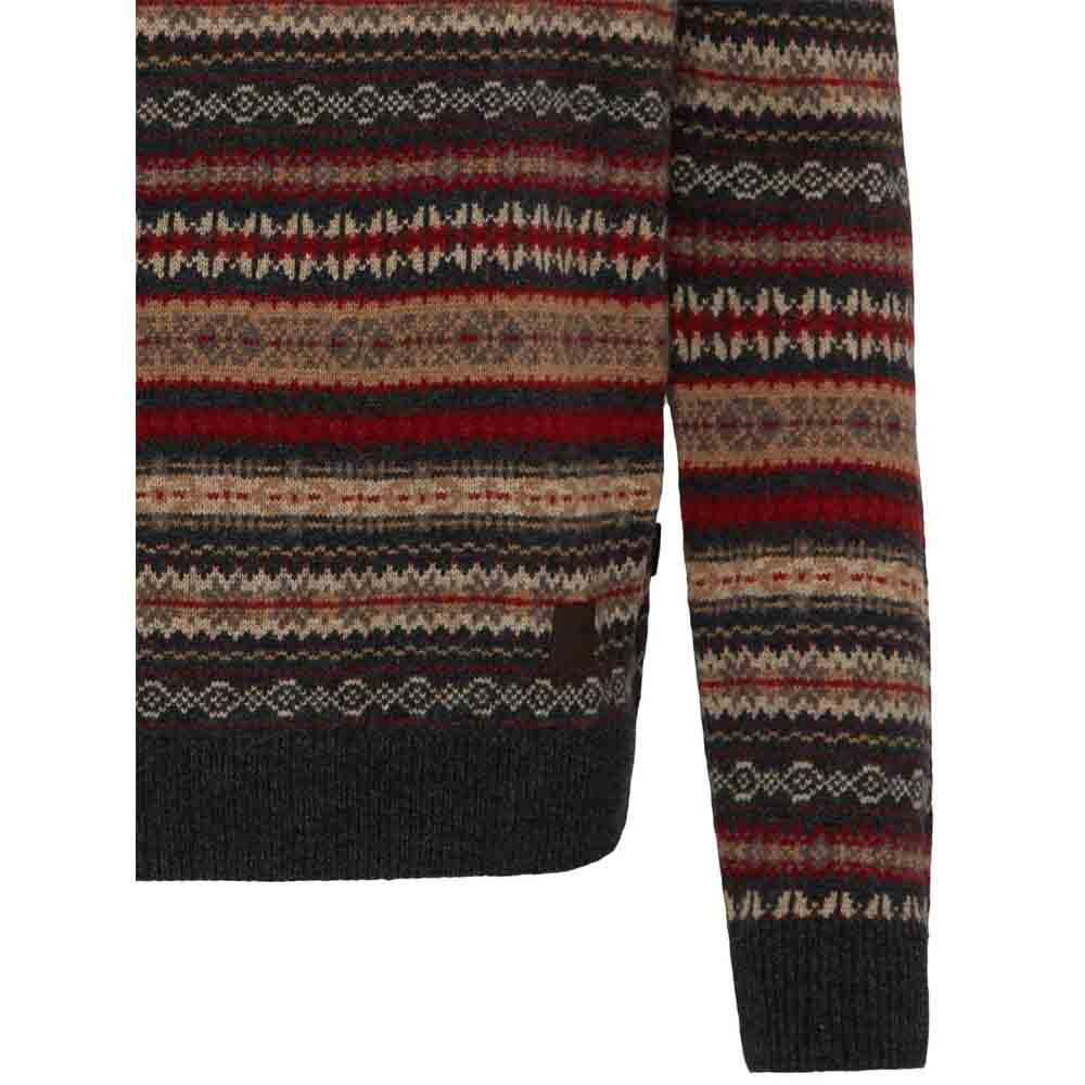 FYNCH HATTON CHARCOAL Knit WITH JACQUARD PATTERN