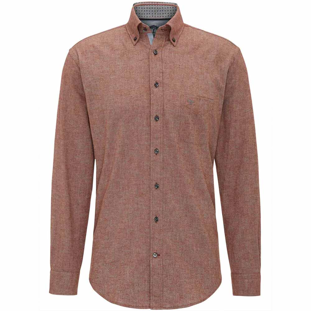 FYNCH HATTON RUSTY LIGHT FLANNEL SHIRT