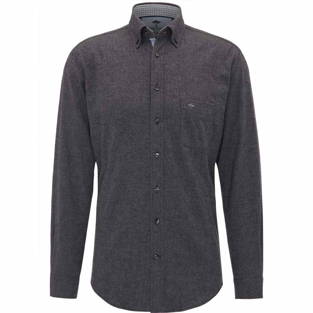 Fynch Hatton Grey LIGHT FLANNEL SHIRT