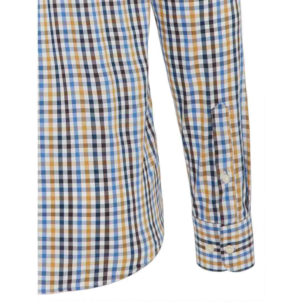 FYNCH HATTON Blue and Gold CHECK SHIRT
