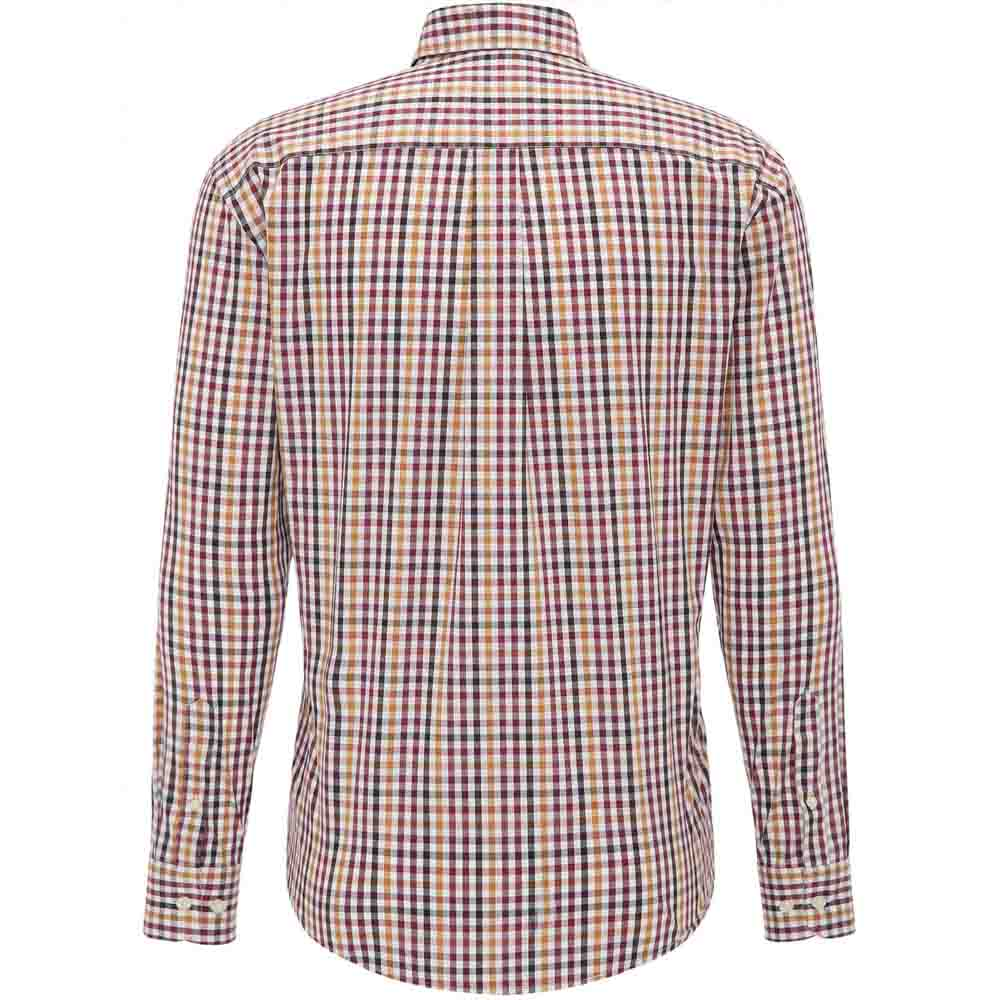 FYNCH HATTON Red and Gold CHECK SHIRT