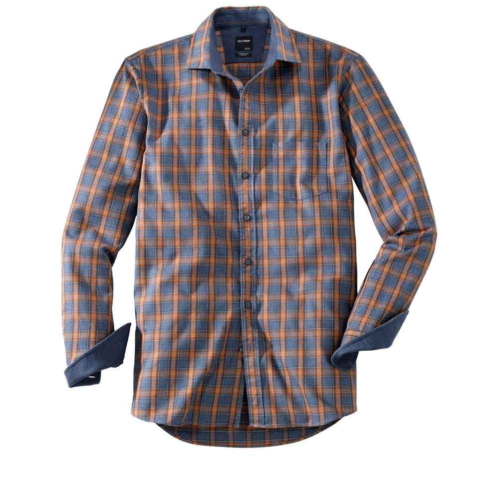 Olymp Brown and Blue Check Shirt
