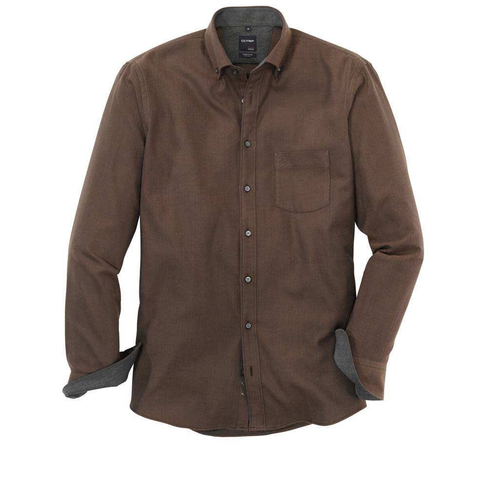 Olymp Brown Herringbone Shirt