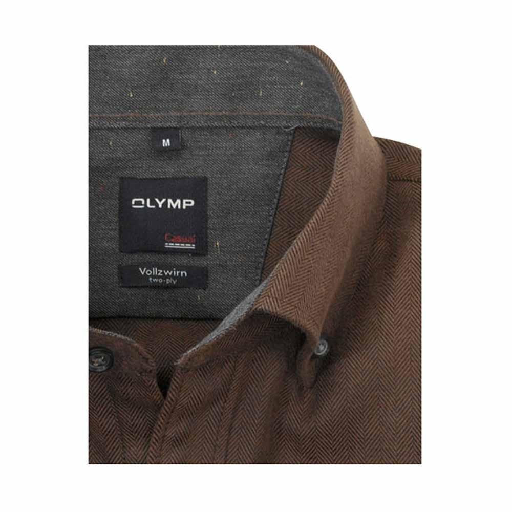 Olymp Brown Herringbone Shirt