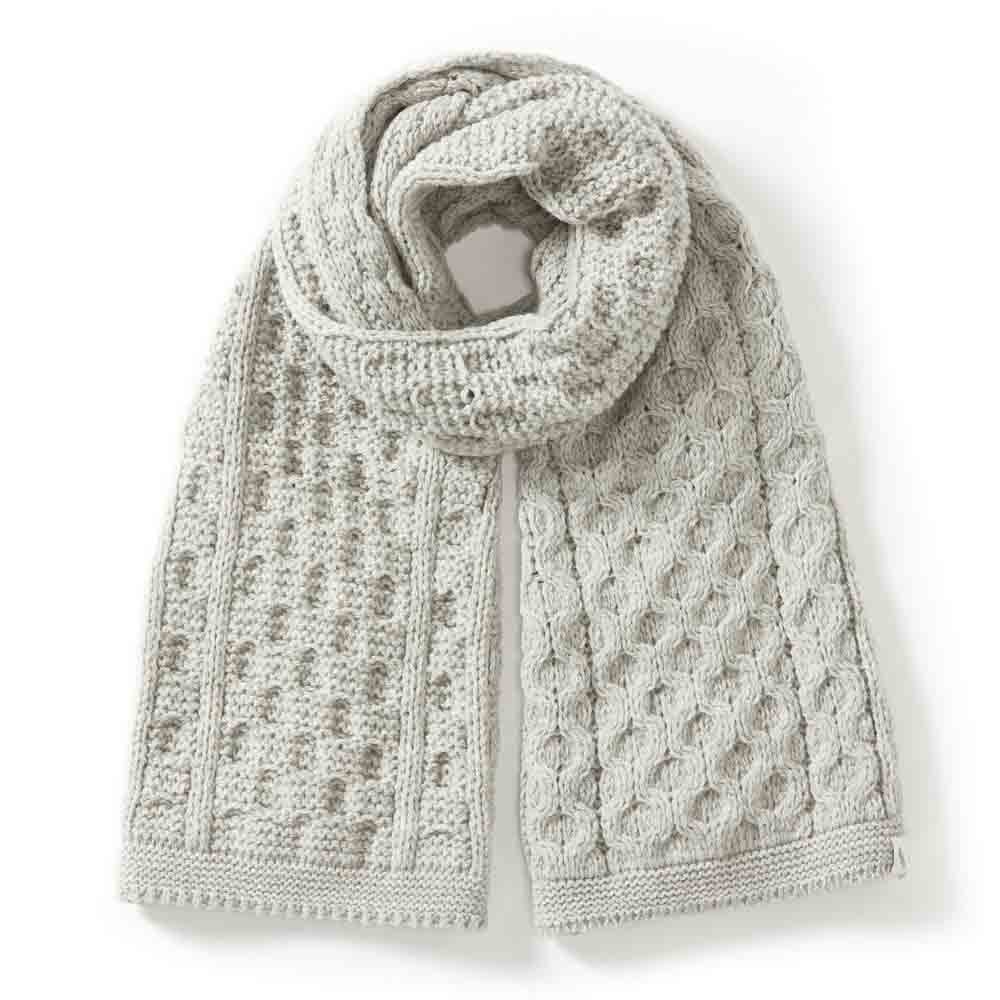 Peregrine Light Grey Aran Scarf