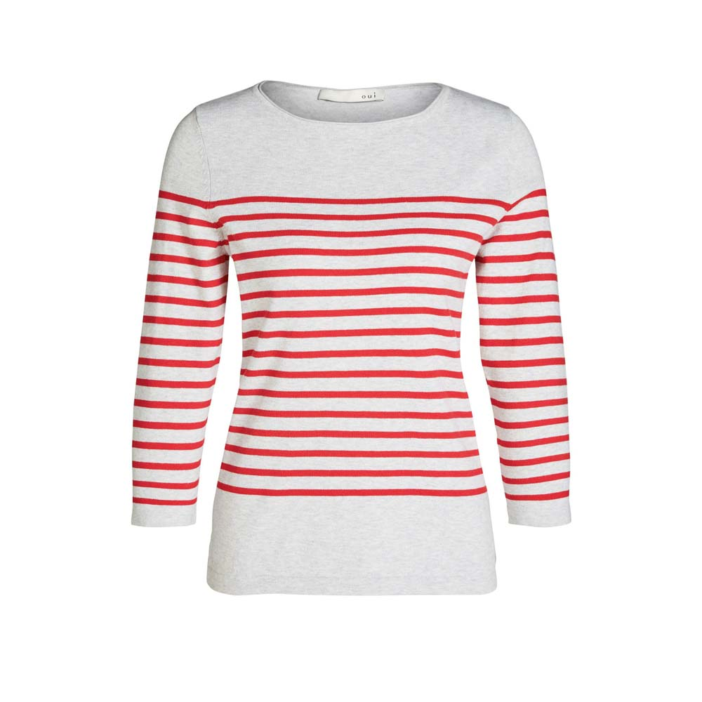 Oui Grey and Red Fine Knit Jumper