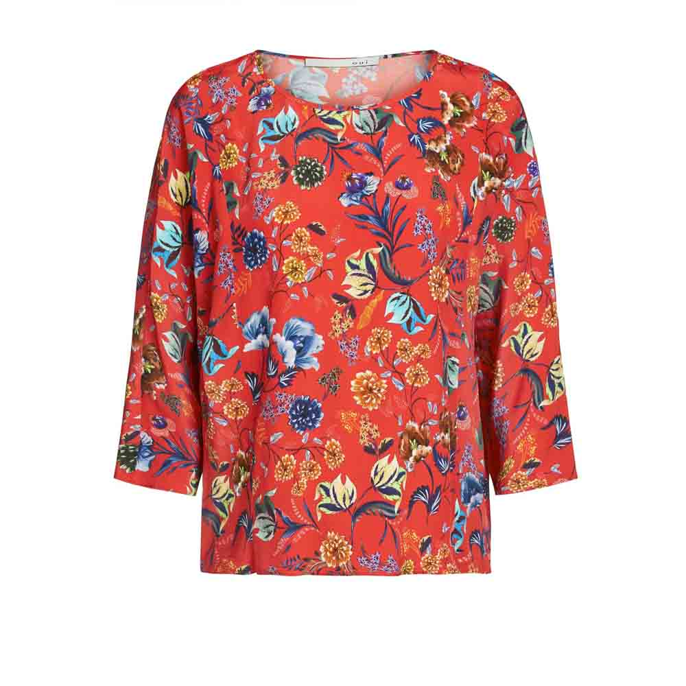 Oui Red Printed Blouse