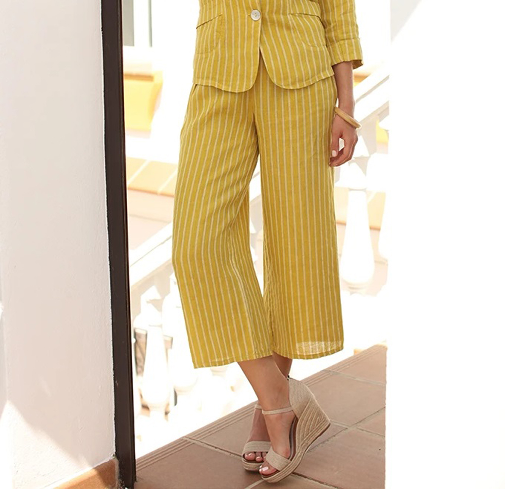 Pomodoro yellow striped culottes