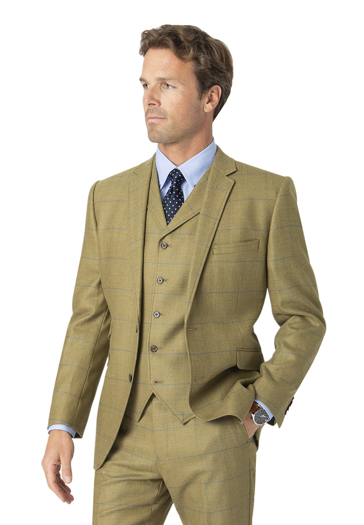 Brook Taverner Fountains Sage Check Pure New Wool Suit Jacket
