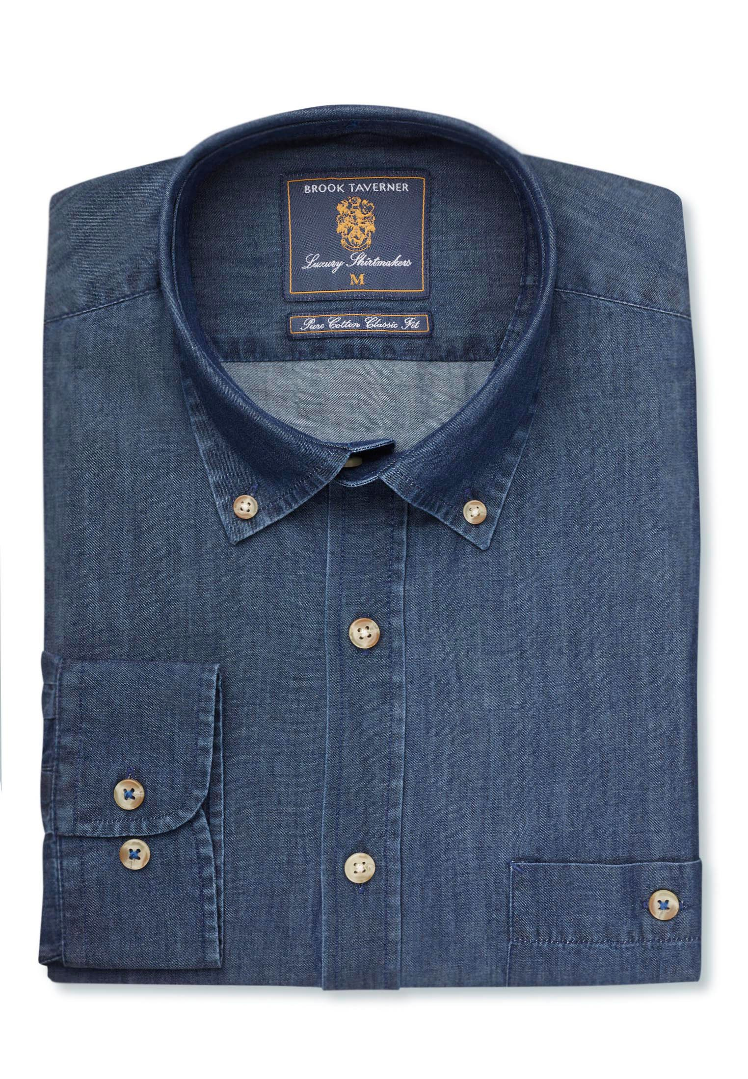 Brook Taverner Classic And Tailored Fit Navy Chambray Cotton Shirt