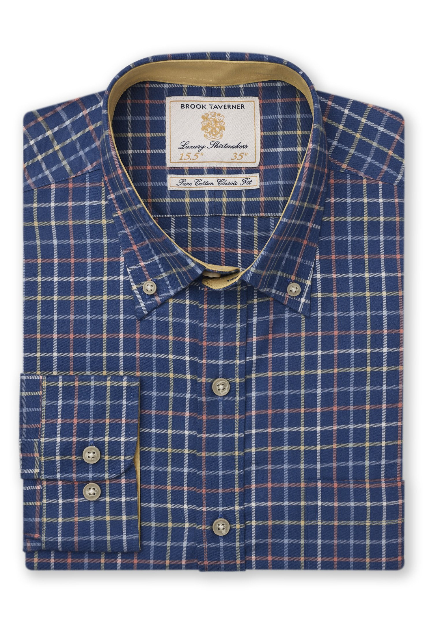 Brook Taverner Tattesall Check shirt in navy.