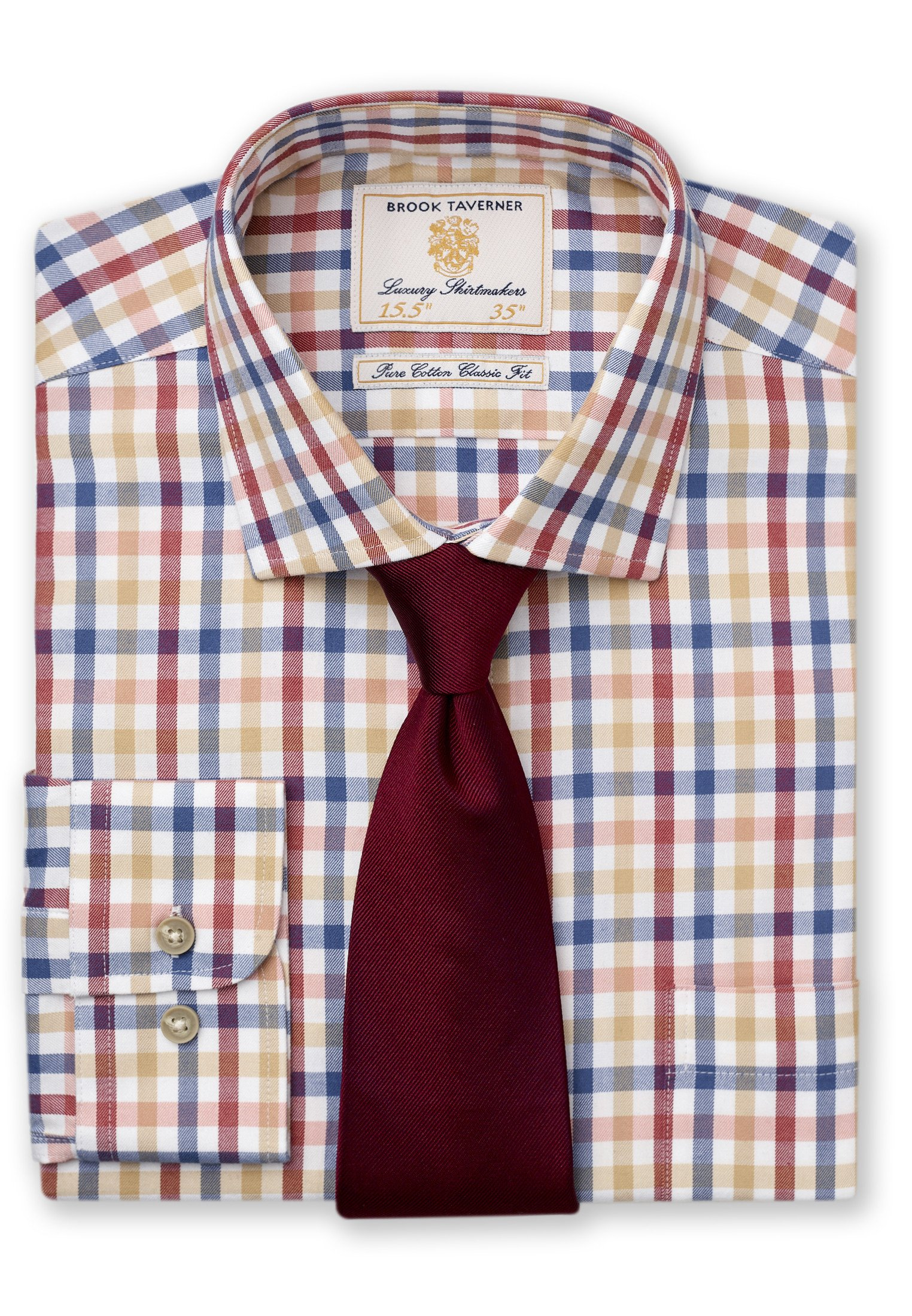 Brook Taverner Tattersall  Blue Wine Orange And Gold Check Single Cuff Shirt